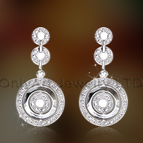 Women Fashionable Cz Sterling Silver Dangle Earring OAE0025