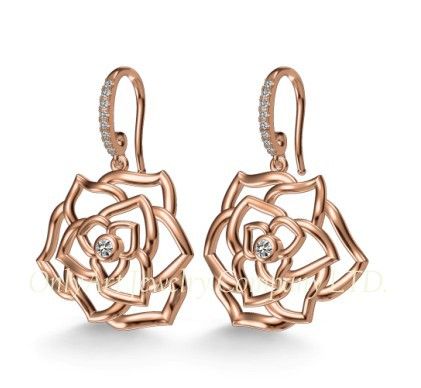 New fashion design rose dangle CZ 925 silver earring for women