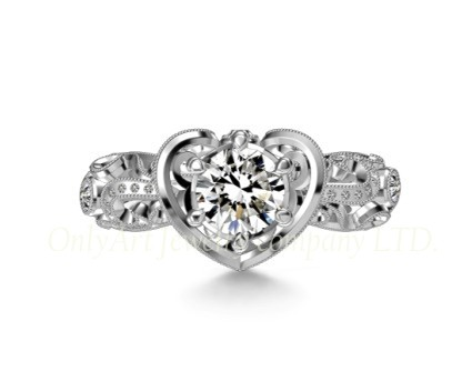 2013 hot selling new design fashion heart 925 sterling silver ring
