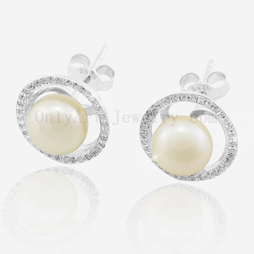 2014 Latest Design 925 Silver pearl Earring