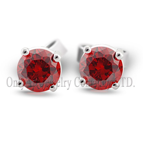 hot sales 5MM round garnet 925 silver earring stud