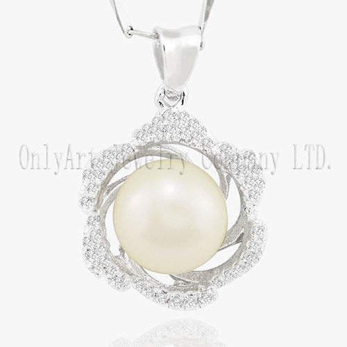 Delicate Pearl Jewelry Rhodium plated 925 Silver Pearl Pendant