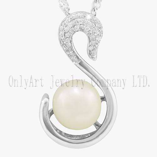 Swank Swan Design With Pearl Shiny Polished 925 Sterling Silver Pendant