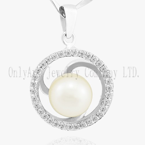Oval Shape Pearl Pendant 925 Silver Shiny Polished CZ Inlaid Pendant