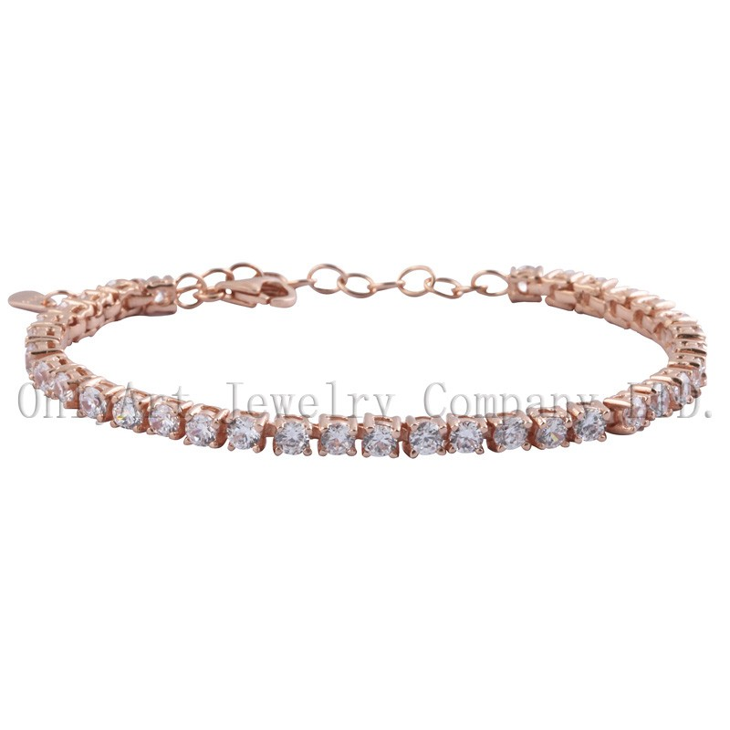 new fashion 925 sterling silver rose gold color bracelets with zircons