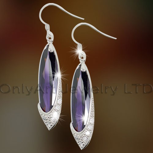 925 Cheap Silver Earrings with Purple CZ OAE0013