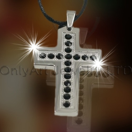 Steel CZ Cross Pendant OATP0119