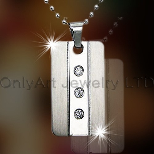 Stainless Steel Or Titanium Mens Dog Tag OATP0144