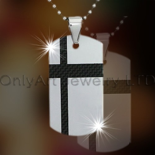 Stainless Steel Carbon Fiber Inlaid Dog Tag OATP0145