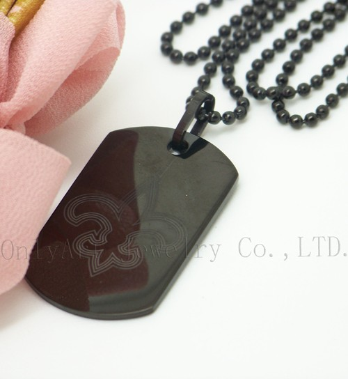 classic black pendant with lily figure lazer engraved