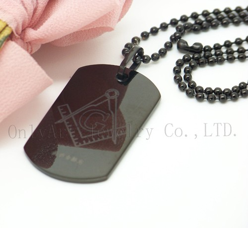 NO MOQ fast shipping engravable mens black dog tag necklace