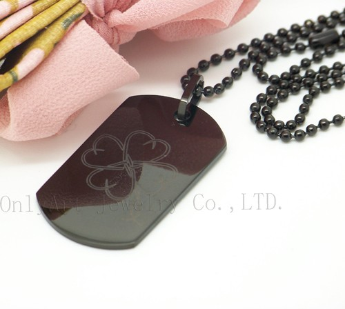 personalized black stainless steel dog tag pendant