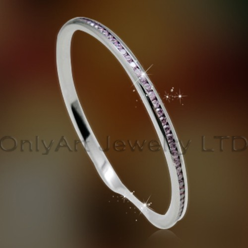 charming pink zircon pave stainless steel or titanium bangle jewelry