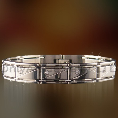 hot selling mens bracelet in stainless steel with CZ set