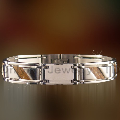 wood inlaid bracelet for men stainless steel jewelry