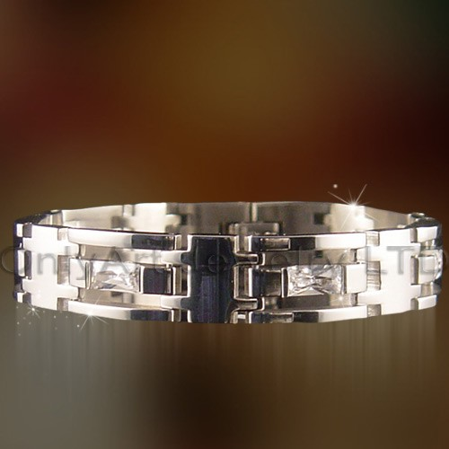 fashion hot sell classic stainless zircon bracelet mens jewelry paypal accepted bracelet