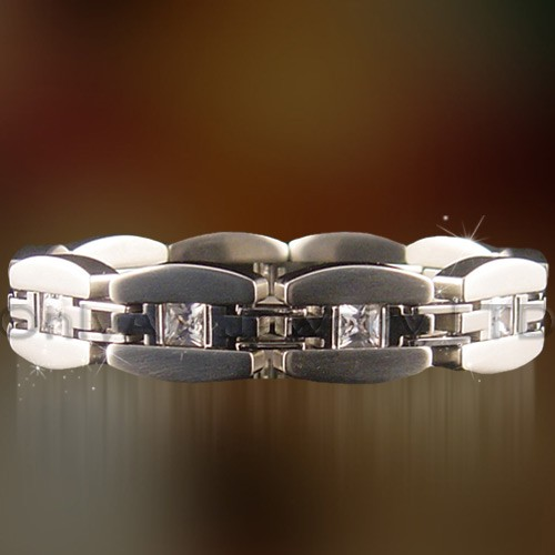 cz setting fashion design cheap steel bracelet
