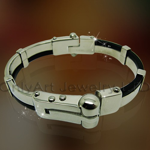 FASHION new design rubber set stainless steel jewlery bracelet