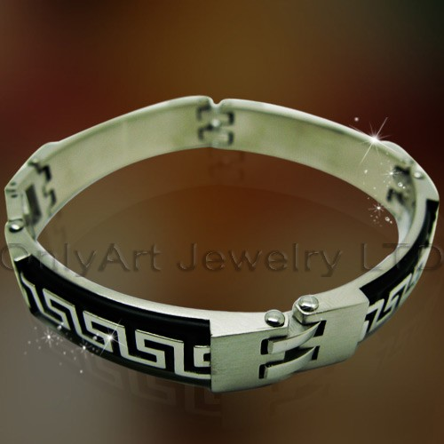 good quality small quantity fasthionable steel leather bracelet