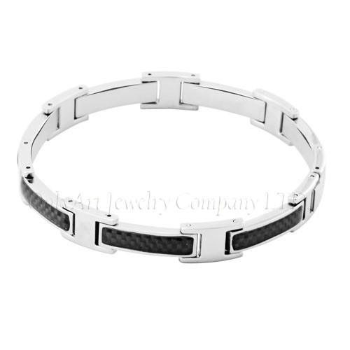 Stocked Steel Bracelet With Carbon Fiber OATB0089