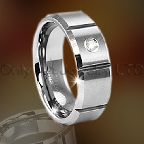 Tungsten Band Jewelry For Men With Cubic Zircon OAGR0069