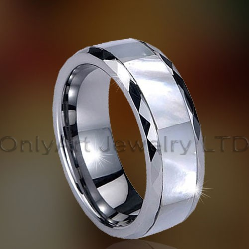 Adorable tungsten carbide ring with MOP inlaid