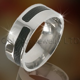 Carbon Fiber Steel Rings For Men OATR0044