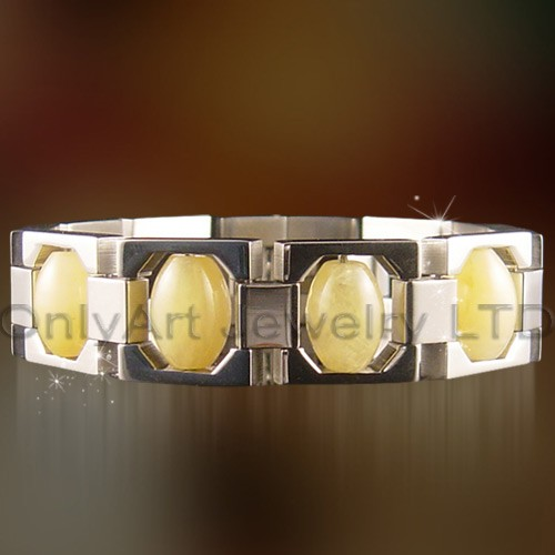 Fashion Stainless Steel Bracelets Set With Big Yellow CZ Stone OATB0137