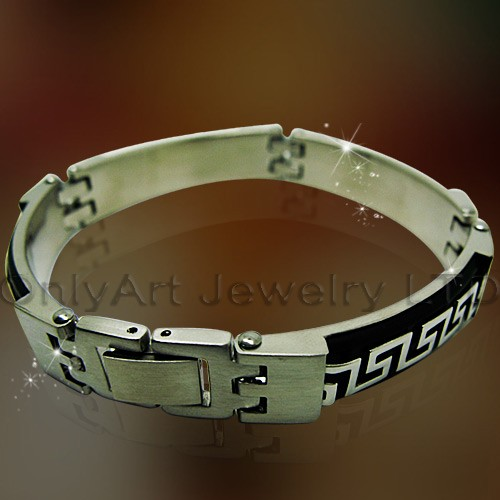 HIGH quality fashion leather steel bracelet for men