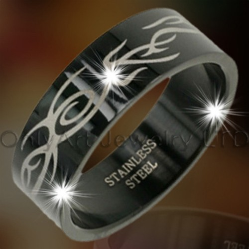 Black Titanium Or Steel Engraved Jewelry Ring OATR0075