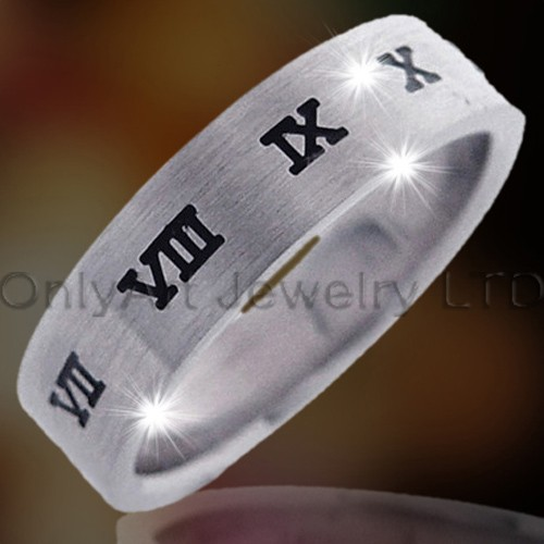 Steel Or Titanium Roman Numberal Ring OATR0077