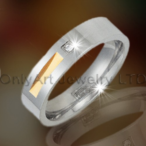 Golden CZ Wholesale Stainless Steel Jewelry OATR0114