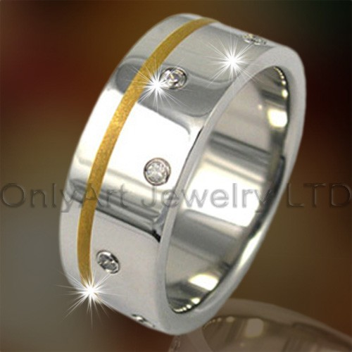 Stainless Steel or Titanium Jewelry CZ Men Rings OATR0135