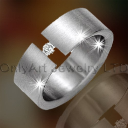 Mens Steel Ring With Stone OATR0254