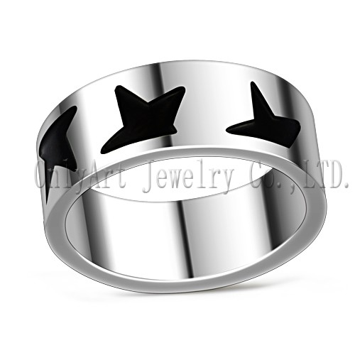 enamel titanium fashion men ring jewellery factory