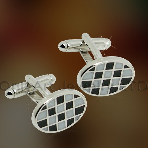 high quality best price white and black enamel cufflink paypal acceptable