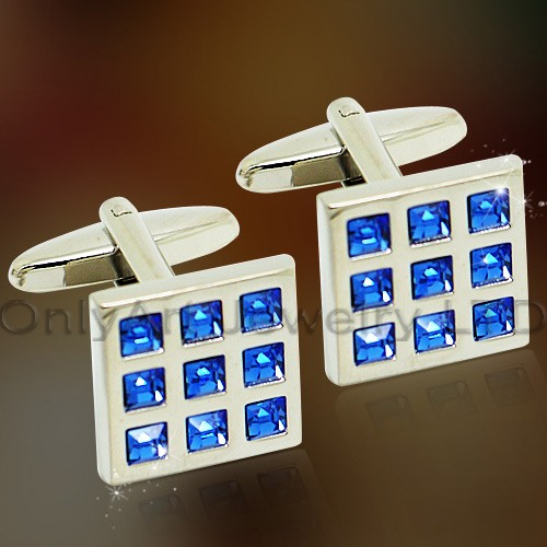 vogue blue cubic zircon brass cufflinks for sale