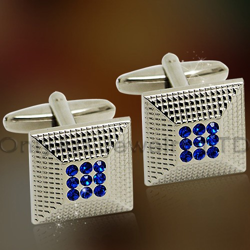 vogue blue cz stone brass cufflinks for sale