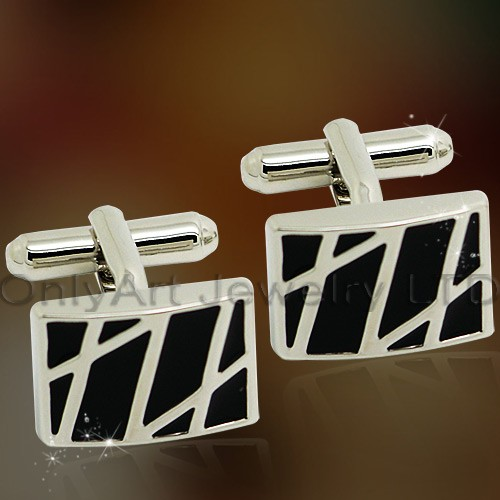 wholesale black enamel fashion cufflinks with competitive price