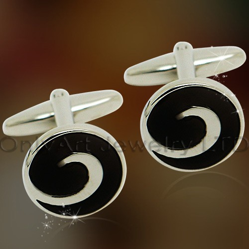 best price black enamel cufflinks for shirt