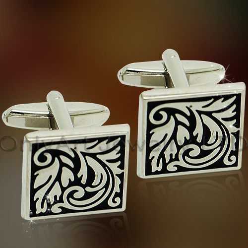 new design fashion laser engraved cufflinks