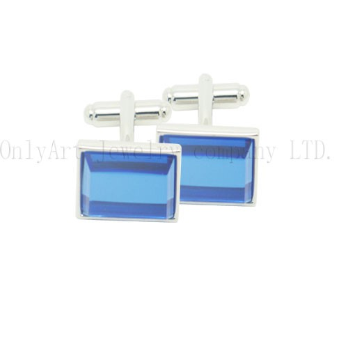elegent silver plated new blue stone brass cufflink