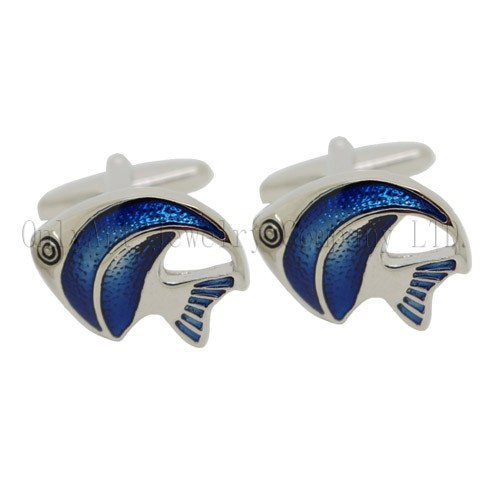 new design enamel fish cufflinks