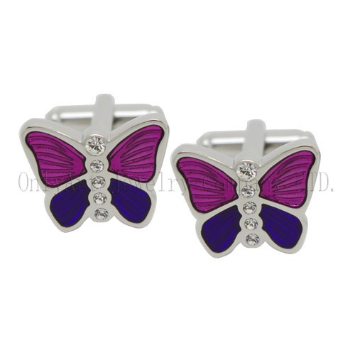 two tone enamel butterfly cufflinks