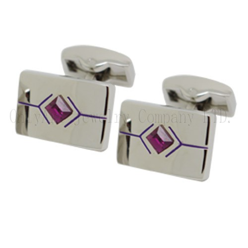 unique design poker cufflink with purple diamond stone inlaid