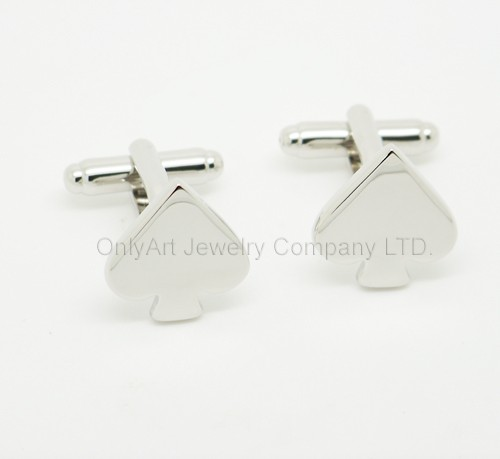 hot sell wedding shiny heart cufflink with plating