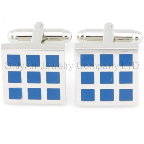 hot sales blue enamel brass cufflinks