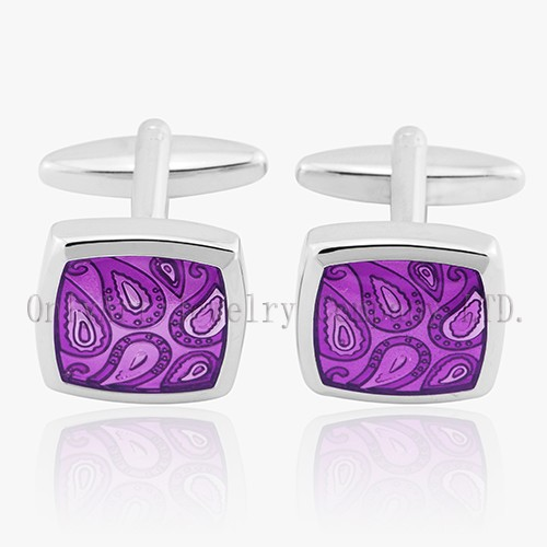 Newest Design Enamel Brass Cufflinks Shiny Polished And PNP Plated