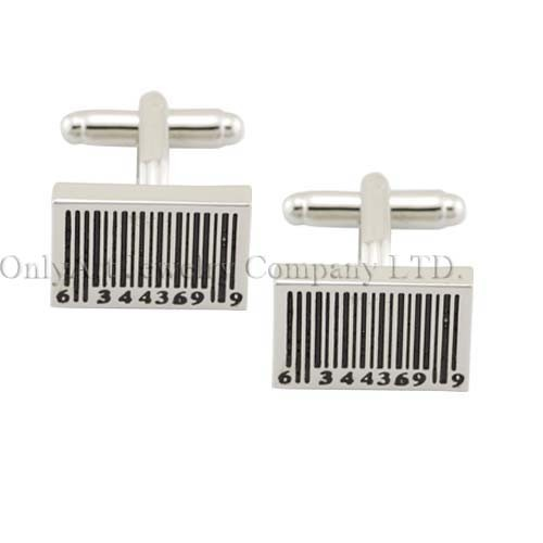 bar code style and enamel delicated brass cufflink