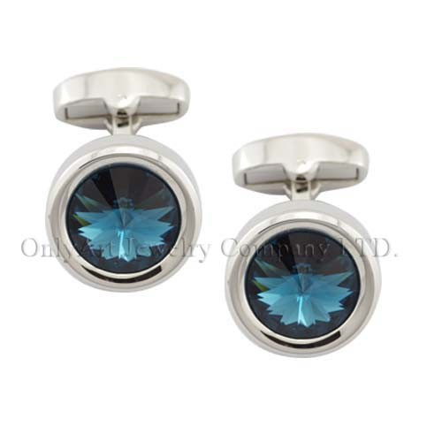 sumptuous and big CZ inlaid wholesale shiny polished and nickel free brass cufflink
